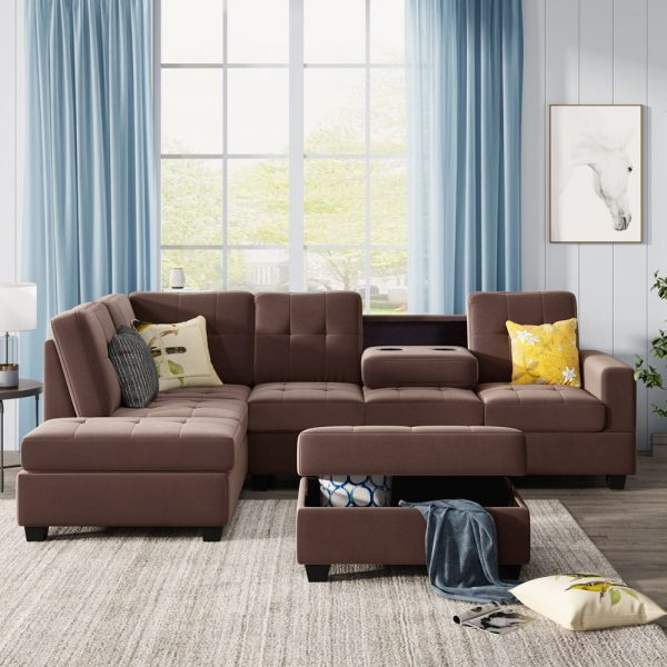 Sectional Sofa with Reversible Chaise Lounge, L-Shaped Couch with Storage Ottoman and Cup Holders3