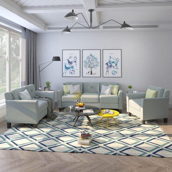 U_STYLE Button Tufted 3 Piece Chair Loveseat Sofa Set 1
