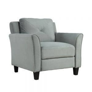 U_STYLE Button Tufted 3 Piece Chair Loveseat Sofa Set 2