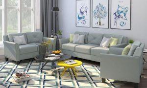 U_STYLE Button Tufted 3 Piece Chair Loveseat Sofa Set