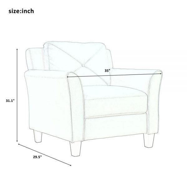 U_STYLE Button Tufted 3 Piece Chair Loveseat Sofa Set size