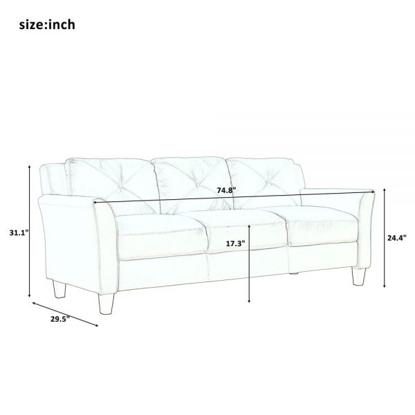 U_STYLE Button Tufted 3 Piece Chair Loveseat Sofa Set size1