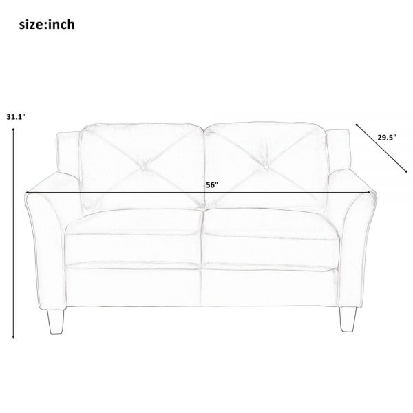 U_STYLE Button Tufted 3 Piece Chair Loveseat Sofa Set size2
