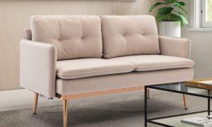 Velvet Sofa , Accent sofa .loveseat sofa with Stainless feet