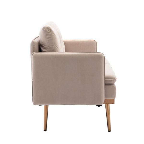 Velvet Sofa , Accent sofa .loveseat sofa with Stainless feet side