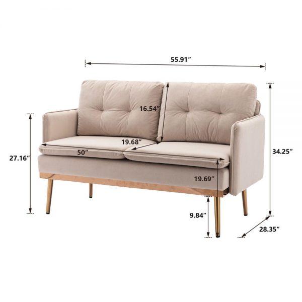 Velvet Sofa , Accent sofa .loveseat sofa with Stainless feet size