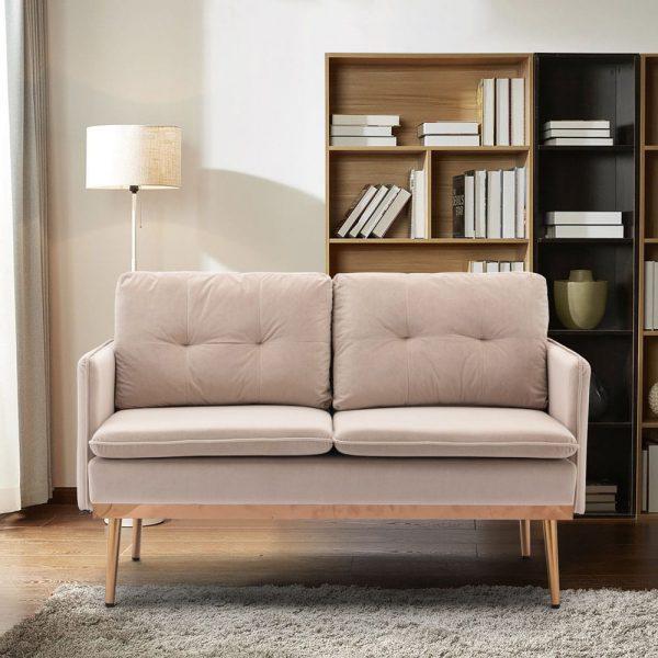 Velvet Sofa , Accent sofa .loveseat sofa with Stainless feet1