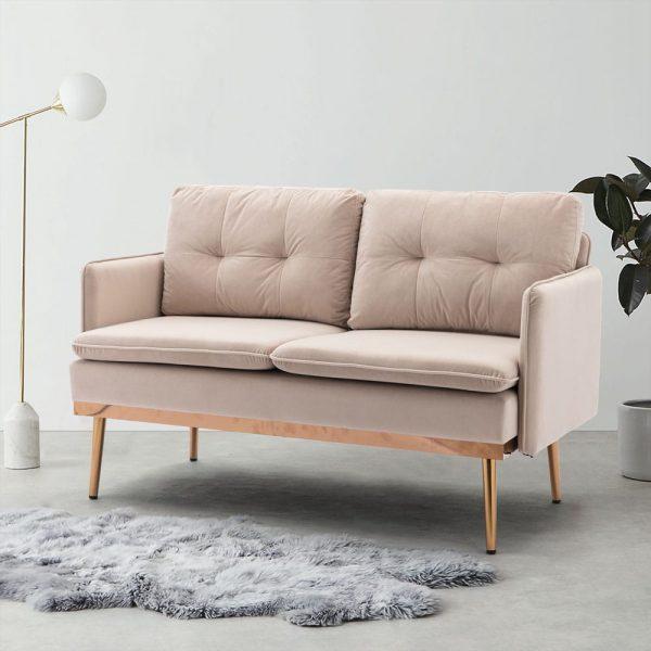 Velvet Sofa , Accent sofa .loveseat sofa with Stainless feet2