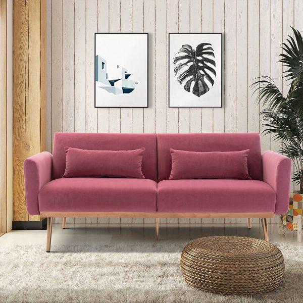 Velvet Sofa , Accent sofa .loveseat sofa with metal feet