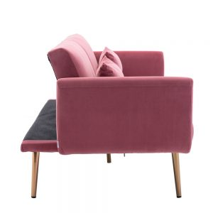 Velvet Sofa , Accent sofa .loveseat sofa with metal feet side