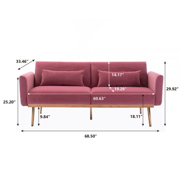 Velvet Sofa , Accent sofa .loveseat sofa with metal feet size