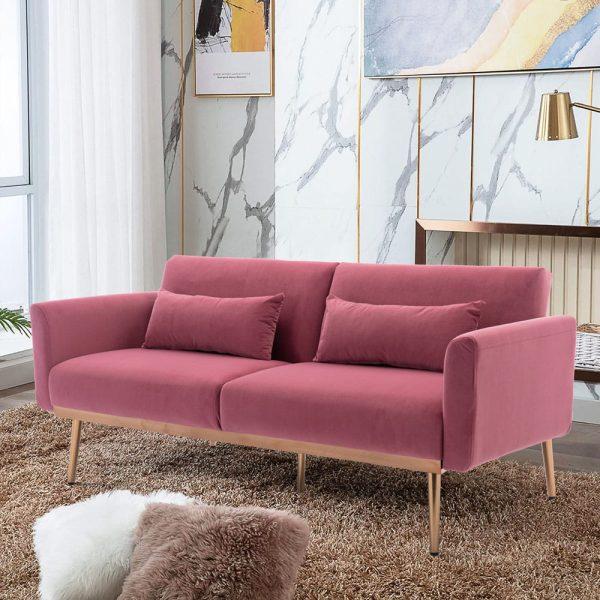 Velvet Sofa , Accent sofa .loveseat sofa with metal feet3