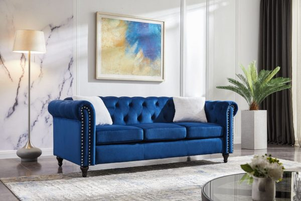 3 Piece Living Room Sofa Set, including 3-seater sofa, loveseat and sofa chair, with button and copper nail on arms and back, five white villose pillow chair