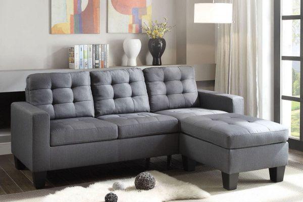 ACME Earsom Sectional Sofa in Gray Linen