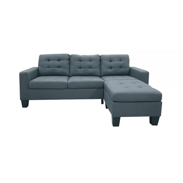 ACME Earsom Sectional Sofa in Gray Linen front