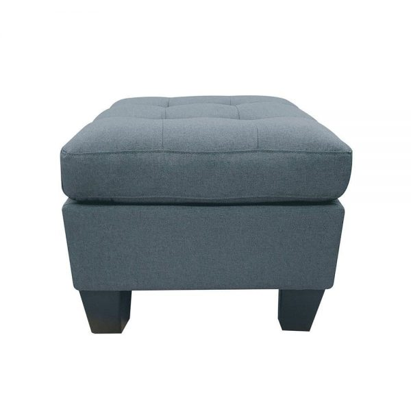 ACME Earsom Sectional Sofa in Gray Linen ottoman