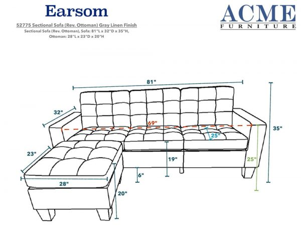 ACME Earsom Sectional Sofa in Gray Linen size