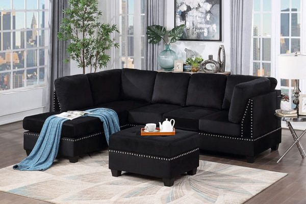 Reversible Sectional Sofa Space Saving with Storage Ottoman Rivet Ornament L-shape Couch for Small or Large Space Dorm Apartment