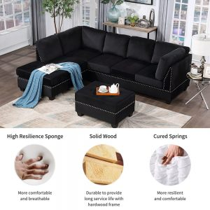 Reversible Sectional Sofa Space Saving with Storage Ottoman Rivet Ornament L-shape Couch for Small or Large Space Dorm Apartment detail 1