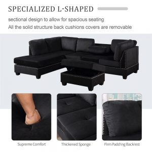 Reversible Sectional Sofa Space Saving with Storage Ottoman Rivet Ornament L-shape Couch for Small or Large Space Dorm Apartment detail 2