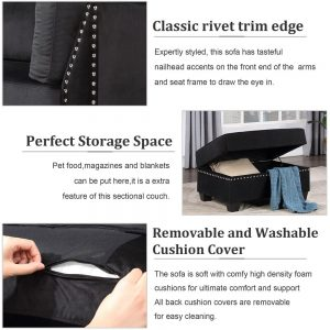 Reversible Sectional Sofa Space Saving with Storage Ottoman Rivet Ornament L-shape Couch for Small or Large Space Dorm Apartment detail 3