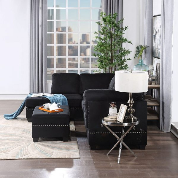 Reversible Sectional Sofa Space Saving with Storage Ottoman Rivet Ornament L-shape Couch for Small or Large Space Dorm Apartment side