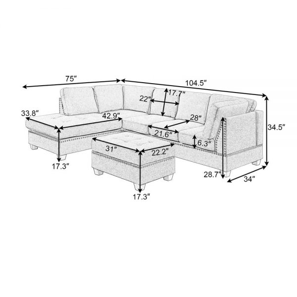 Reversible Sectional Sofa Space Saving with Storage Ottoman Rivet Ornament L-shape Couch for Small or Large Space Dorm Apartment size