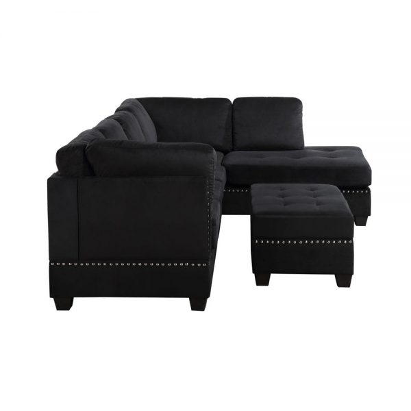 Reversible Sectional Sofa Space Saving with Storage Ottoman Rivet Ornament L-shape Couch for Small or Large Space Dorm Apartment2