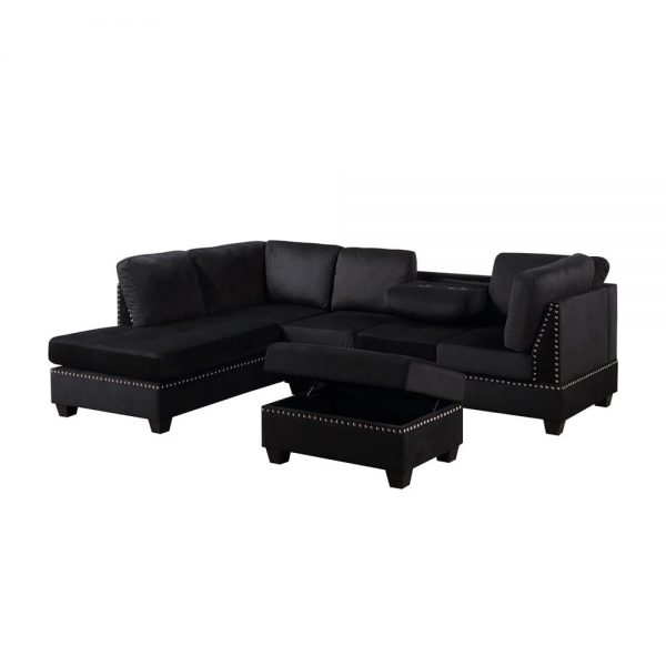 Reversible Sectional Sofa Space Saving with Storage Ottoman Rivet Ornament L-shape Couch for Small or Large Space Dorm Apartment3