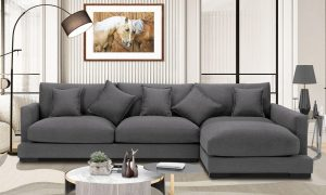 Soft and comfortable Sectional sofa right hand facing dark grey fabric