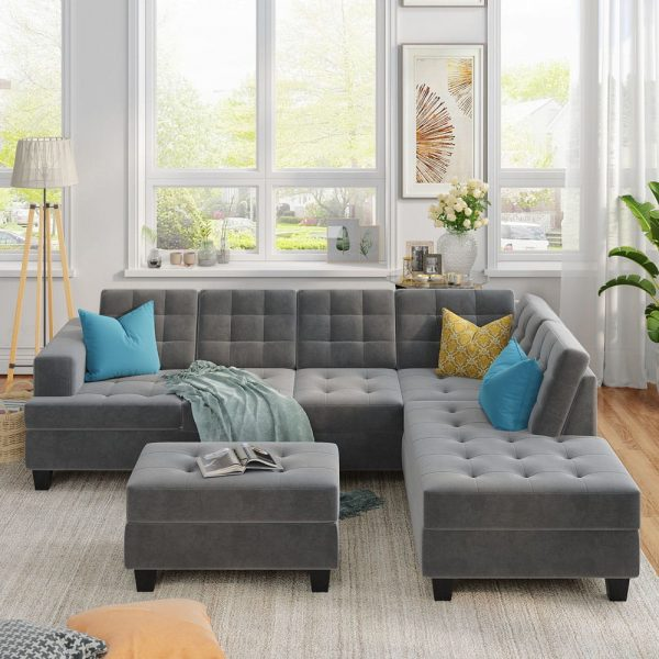 Upholstery Sectional Sofa with storage ottoman, thick cushions