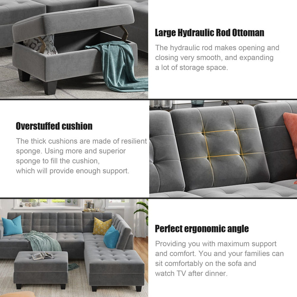 Upholstery Sectional Sofa with storage ottoman, thick cushions detail