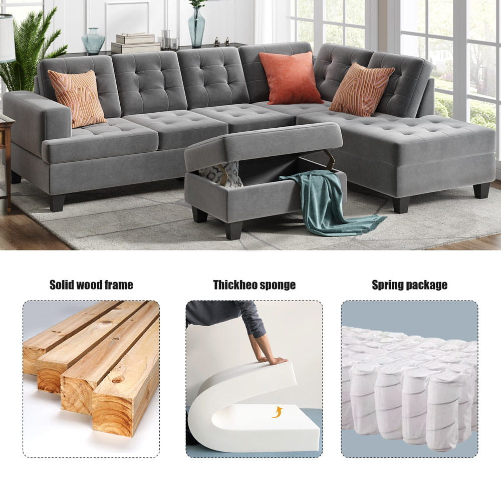 Upholstery Sectional Sofa with storage ottoman, thick cushions detail1