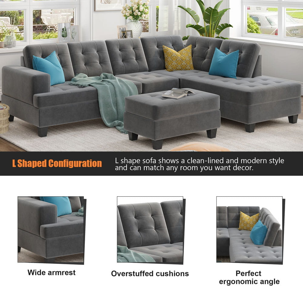 Upholstery Sectional Sofa with storage ottoman, thick cushions detail2