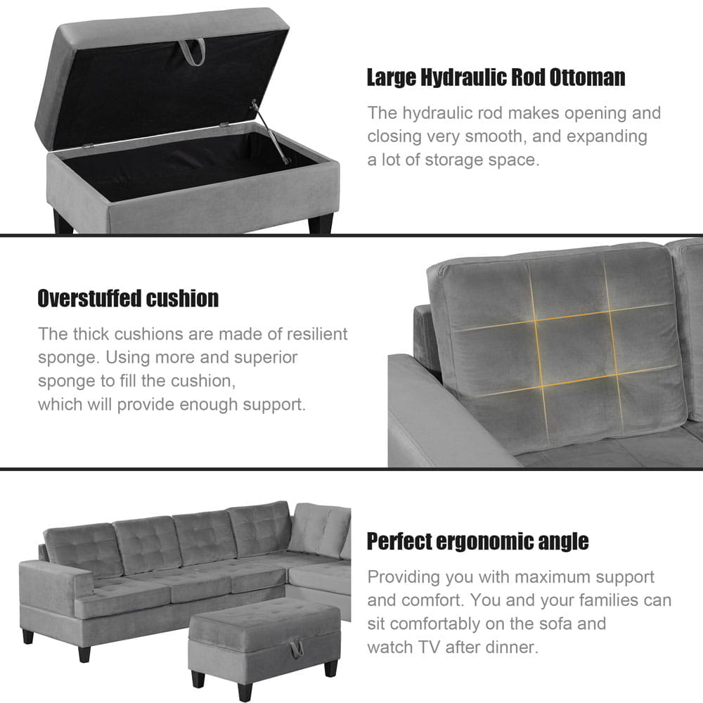 Upholstery Sectional Sofa with storage ottoman, thick cushions detail4