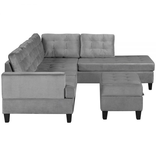 Upholstery Sectional Sofa with storage ottoman, thick cushions side