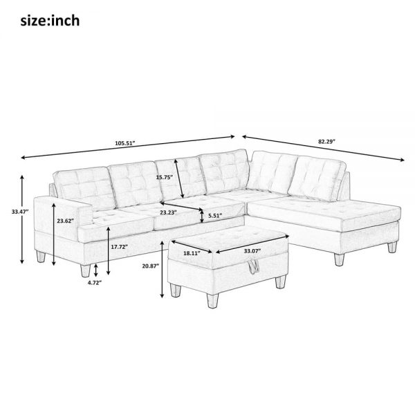 Upholstery Sectional Sofa with storage ottoman, thick cushions size
