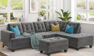 Upholstery Sectional Sofa with storage ottoman, thick cushions1