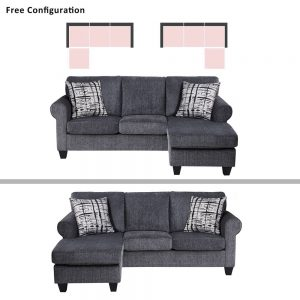 Convertible Sectional Sofa with Two Pillows,Living Room L-Shape 3-Seater Upholstered Couch for Small Space