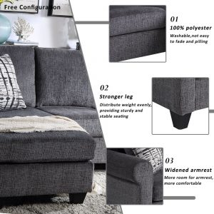 Convertible Sectional Sofa with Two Pillows,Living Room L-Shape 3-Seater Upholstered Couch for Small Space detail