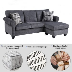 Convertible Sectional Sofa with Two Pillows,Living Room L-Shape 3-Seater Upholstered Couch for Small Space detail2
