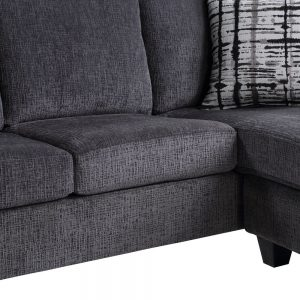 Convertible Sectional Sofa with Two Pillows,Living Room L-Shape 3-Seater Upholstered Couch for Small Space detail4