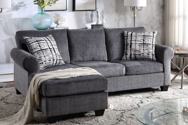 Convertible Sectional Sofa with Two Pillows,Living Room L-Shape 3-Seater Upholstered Couch for Small Space1