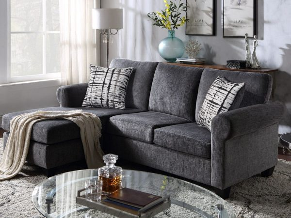 Convertible Sectional Sofa with Two Pillows,Living Room L-Shape 3-Seater Upholstered Couch for Small Space2