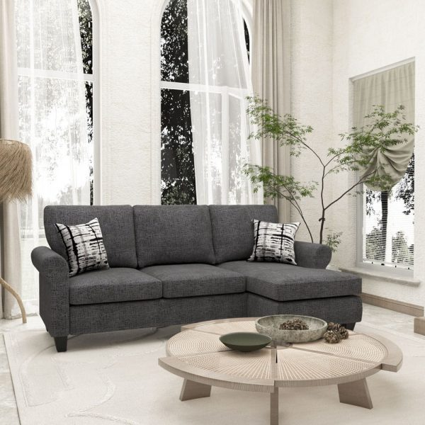 Convertible Sectional Sofa with Two Pillows,Living Room L-Shape 3-Seater Upholstered Couch for Small Space3