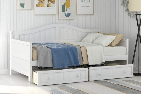 Twin Wooden Daybed with 2 drawers, Sofa Bed for Bedroom Living Room,No Box Spring Needed,White