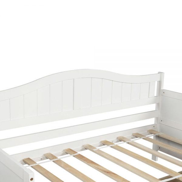 Twin Wooden Daybed with 2 drawers, Sofa Bed for Bedroom Living Room,No Box Spring Needed,White detail1