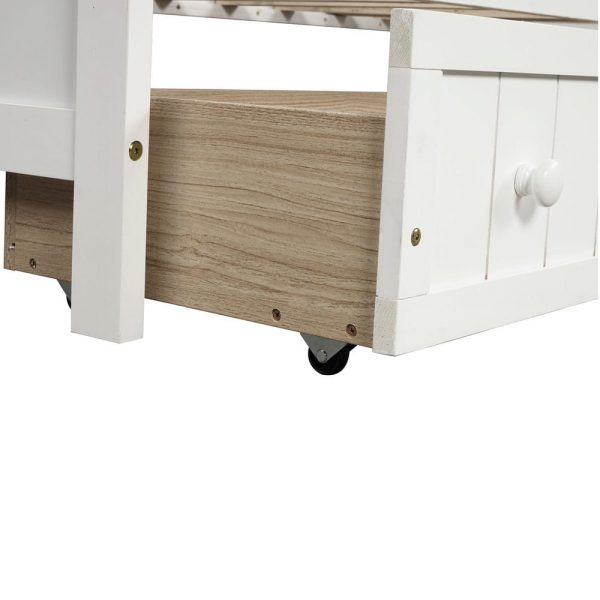 Twin Wooden Daybed with 2 drawers, Sofa Bed for Bedroom Living Room,No Box Spring Needed,White detail2
