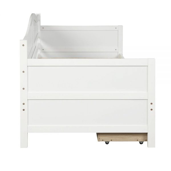 Twin Wooden Daybed with 2 drawers, Sofa Bed for Bedroom Living Room,No Box Spring Needed,White side